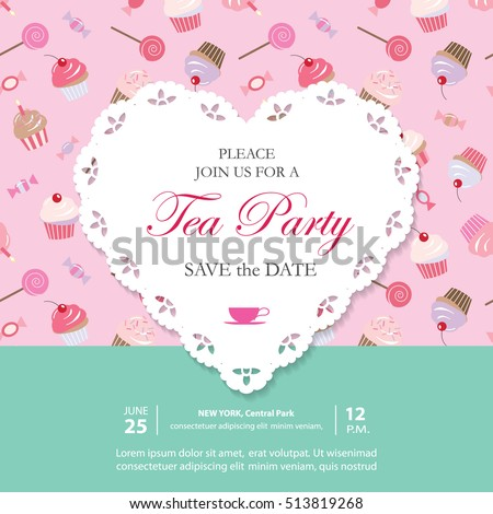Elegant Template With Lacy Cutout Heart Tea Party Invitation Can Be Used For Wedding