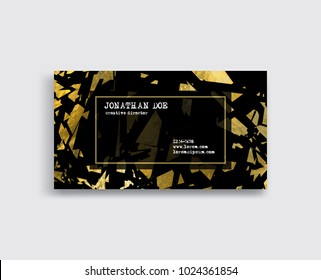 Elegant Template Luxury Business Card with Gold pieces Place for Text. Particles Background. Vector illustration
