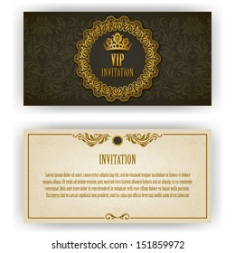Elegant template luxury invitation, card with lace ornament, place for text. Floral elements, ornate background. Vector illustration EPS 10.