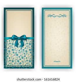 Elegant template luxury invitation, card with lace ornament, bow, place for text. Floral elements, ornate background. Vector illustration EPS 10.