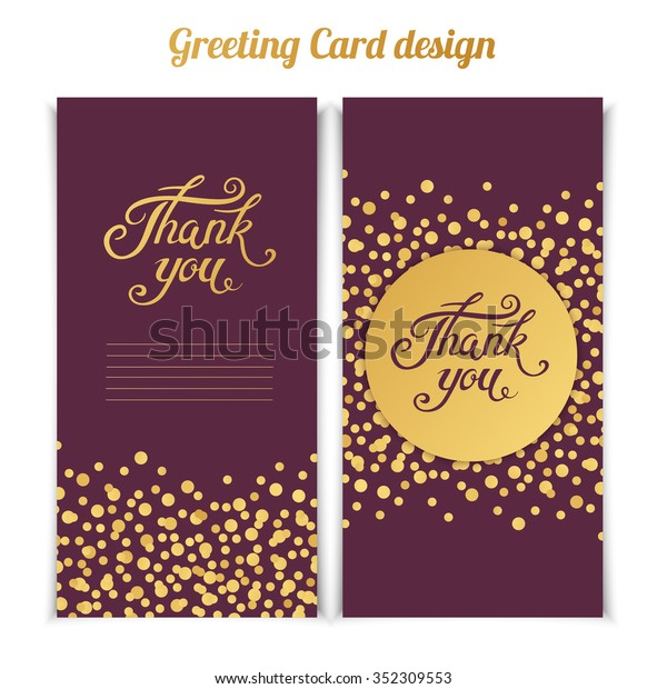 Elegant Thank You Card Template Golden Stock Vector Royalty Free 352309553