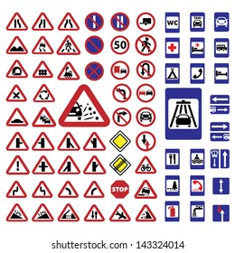 Elegant Traffic Signs Set Created For Mobile, Web And Applications.