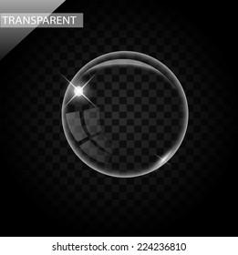 Elegant transparent bubbles on black background vector