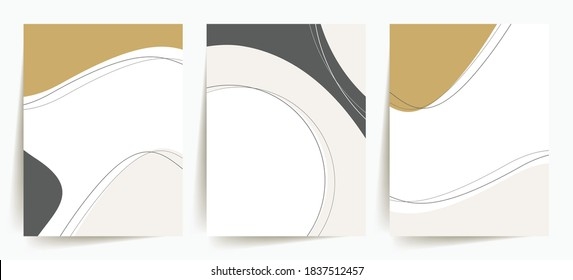 Elegant, trendy abstract shapes backgrounds. Minimal cover design templates. Set of 3 minimalist, abstract designs. Stylish, elegant, modern, trendy, artistic. Gold, dark grey, beige, white.