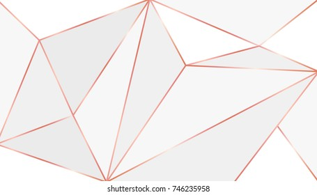Elegant triangles background with rose gold texture stroke, vector illustration. Trendy low poly style in tender pink and gray colors.
