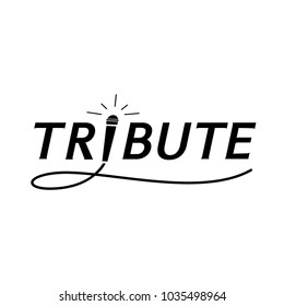 elegant tribute typography with microphone and swinging wire icon