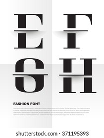 Elegant typographic alphabet in a set. Contains vibrant colors and minimal design