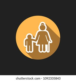Elegant Universal White Minimalistic Thin Line Grandmather with Grandson Icon with Shadows on Circular Color Button on Black Background