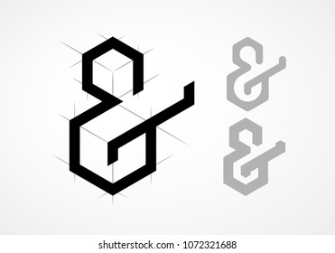 Elegant vector ampersand on light background. Eps8. RGB. Global colors