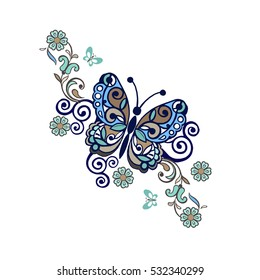 Elegant vector background with butterflies. Decorative floral ornament with butterflies.  Vintage flowers ornament in blue colors.