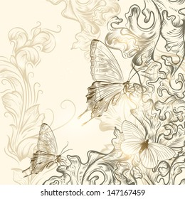 Elegant vector background with pastel butterflies and hand drawn ornament