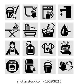 Elegant Vector Black Cleaning Icons Set.