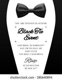 Elegant Vector Black Tie Event Invitation