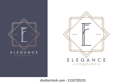 Elegant vector E logo in two color variations. Art Deco style logotype design for luxury company branding. Premium identity design in blue and gold.