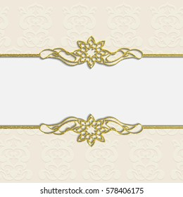 Elegant vector frame in Arabic pattern style for Ramadan Kareem festival.Lace vector illustration for wedding invitation and greeting card in vintage style
