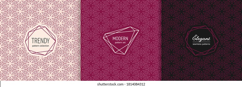 Elegant vector geometric seamless patterns with modern minimal labels. Subtle floral ornament. Textures set with linear flower shapes, diamonds, triangles. Burgundy color background. Premium design