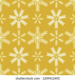 Elegant vector gold and white ornamental snowflakes linear seamless pattern background. Perfect for seasonal giftwrap, invitations, stationery, quilting, fun scrapbooking and marketing projects.