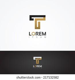 Elegant vector graphic alphabet / letter T