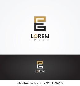 Elegant vector graphic alphabet / letter E