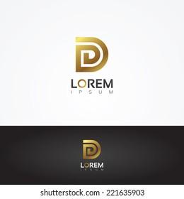 Elegant vector graphic gold alphabet symbol / letter D