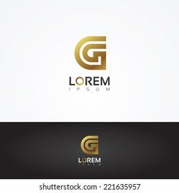 Elegant vector graphic gold alphabet symbol / letter G