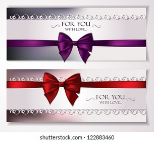 Elegant vector holiday cards with silk ribbons and bows