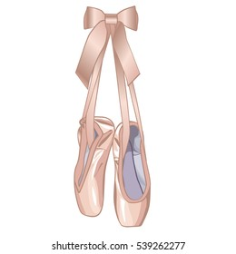 elegant vector illustration of ballet pink shoes with ribbon isolated on white background. Ballet.