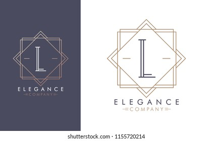 Elegant vector L logo in two color variations. Art Deco style logotype design for luxury company branding. Premium identity design in blue and gold.