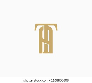 Elegant Vector Linked Minimalist Letter TA Logo Design