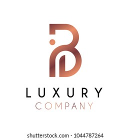 Elegant vector logo forming the letter B. Luxury logotype with minimal design in rosegold color.