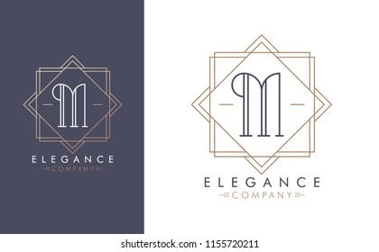 Elegant vector M logo in two color variations. Art Deco style logotype design for luxury company branding. Premium identity design in blue and gold.