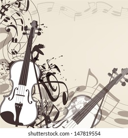 Elegant vector music background with  violin and notes