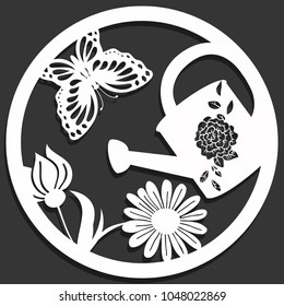 Elegant vector paper cutting with flowers, butterfly and a can in a circle. Isolated on black background. Spring theme for paper craft oder laser die.