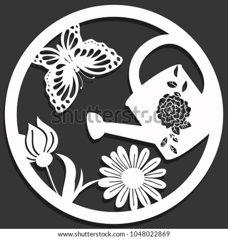 Elegant vector paper cutting flowers butterfly stock vector royalty elegant vector paper cutting with flowers butterfly and a can in a circle isolated mightylinksfo