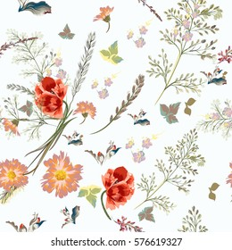 Elegant vector pattern with field flowers  in vintage style