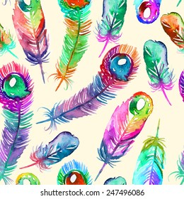 Elegant vector pattern with watercolor drawing feathers.