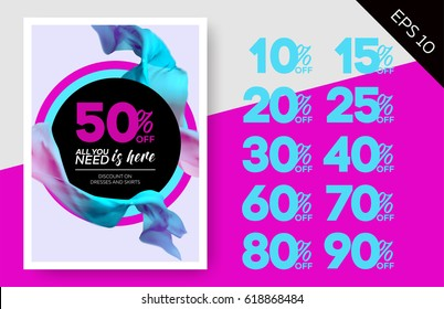 Elegant Vector Sale Template with Flying Silk on Lilac Background and Circles. Advertising Layout For Cloth Shop, Online Store, Web Banner, Pop-Up, Poster, Flyer.