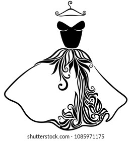 Elegant vector silhouette of isolated beautiful dress. Dress icon. EPS8.