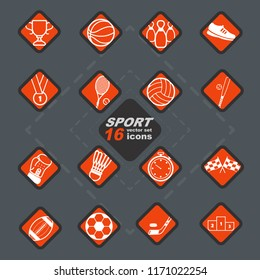 Elegant vector sport 16 icon set and badges