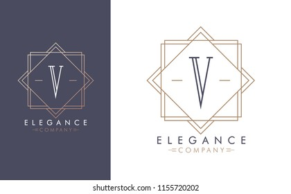 Elegant vector V logo in two color variations. Art Deco style logotype design for luxury company branding. Premium identity design in blue and gold.