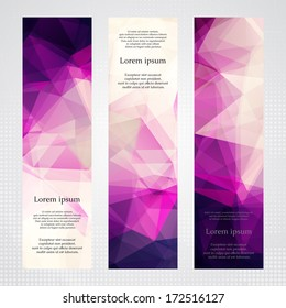 Elegant vertical banners with light and dark pink transparent polygonal shapes.