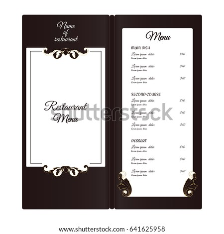 elegant vertical restaurant menu leafy elements のベクター画像素材