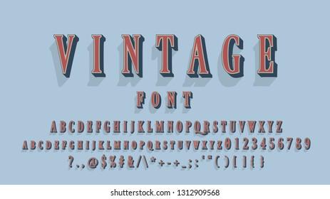 A Elegant Vintage 3d Font Effect With  Shadow Effect. Retro vector alphabet. Vector font, Retro abc, Title font, trendy old style letters