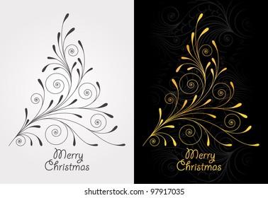Elegant vintage background with Christmas tree