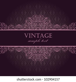 1e38a65499 Elegant vintage card with damask seamless wallpaper