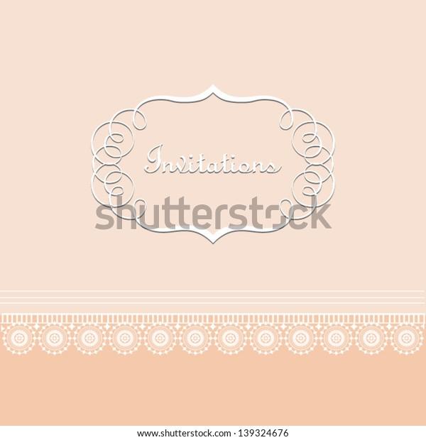 Elegant vintage card with lace orange.for invitation, backdrop, Wedding, card, brochure, banner, border, wallpaper. Vector eps10, illustration.