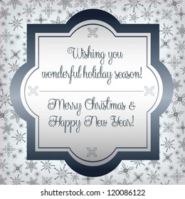 elegant vintage christmas and new year greeting card with satin border and snowflake background vector