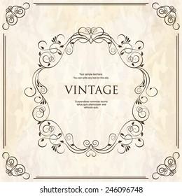 Elegant vintage frame with floral pattern