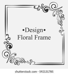 Elegant vintage frame with floral pattern. Template for design