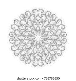 Elegant vintage graceful ornament from silver dust texture on white background. Design element for wedding invitation, banner, postcard, save the date, greeting card. Vector illustration.